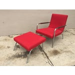 Image of Ligne Roset Red Lounge Chair & Ottoman