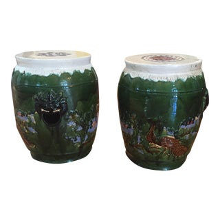 Asian Clay Mid-Century Garden Stools - A Pair