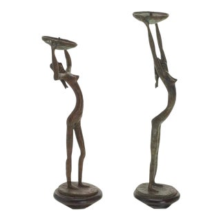 Giacometti Style Mid-Century Bronze Candlesticks - A Pair