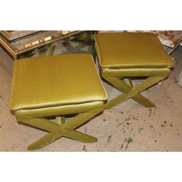 Upholstered X Bench Lime Green Chairish