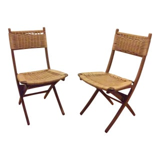 Mid-Century Modern Hans Wegner Style Folding Chairs - A Pair