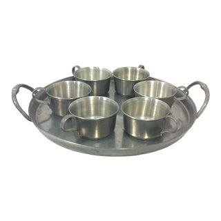 Pewter Gallery Tray & Cups - Set of 7