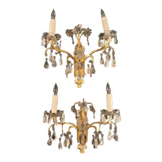 Gilt Metal Sconces With Rock Crystal Prisms - A Pair