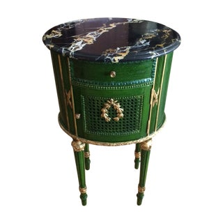 Faux Marble And Emerald Green Louis XVI Side Table
