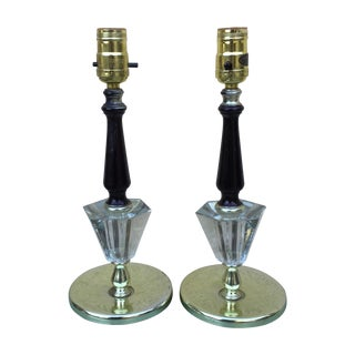 Brass & Lucite Table Lamps - A Pair