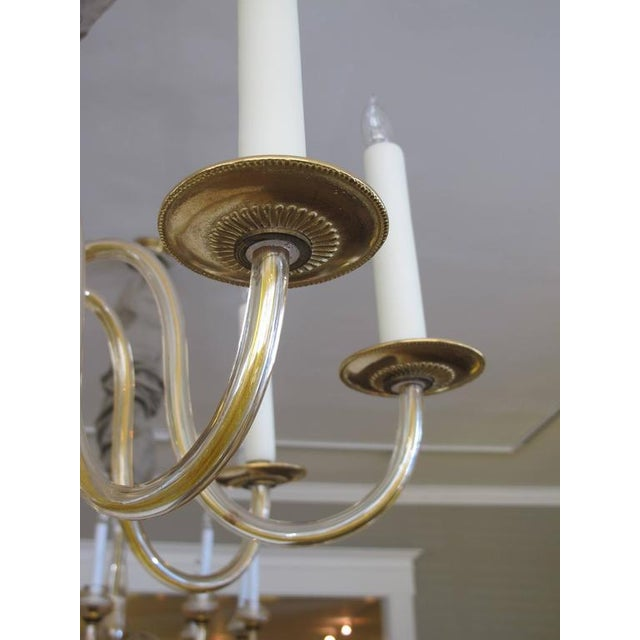 Shapely Murano 1950s Pale Gold Glass Eight-Light Chandelier - Image 3 of 5