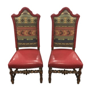Southwestern Style Wood & Leather Chairs - A Pair
