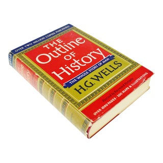 Vintage 1956 The Outline of History H.G. Wells Vol. II Illustrated Book Hardcover with Original Dust Jacket