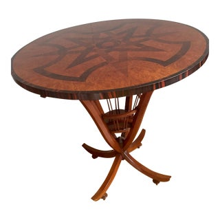 Emilio Terry Geometric Walnut Inlay Sculptural Table by Widdicombe