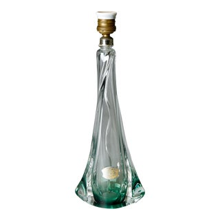 Mid-Century Belgian Val St. Lambert Green Glass Table Lamp