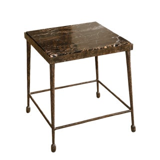 Customizable Paul Marra Iron and Stone Side Table