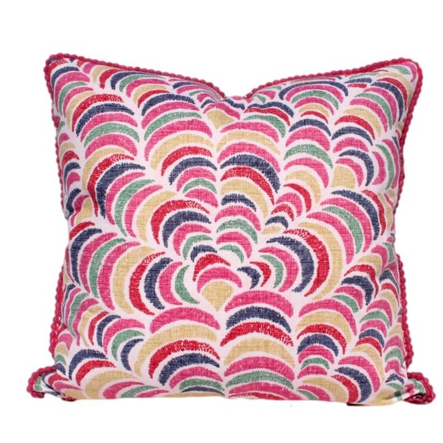 Pink Multi Ikat Pillow With Fuchsia Glass Trim - Image 1 of 2