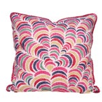 Image of Pink Multi Ikat Pillow With Fuchsia Glass Trim