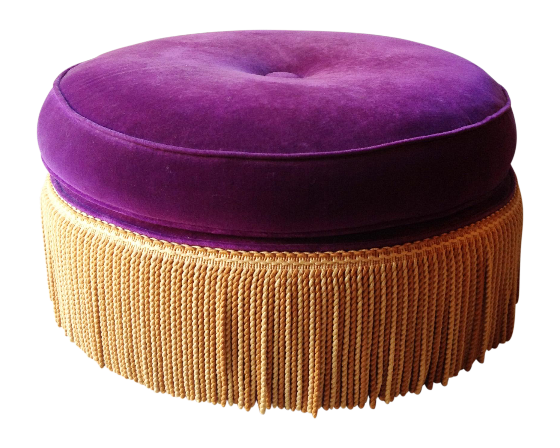 Image of Purple And Gold Round Ottoman