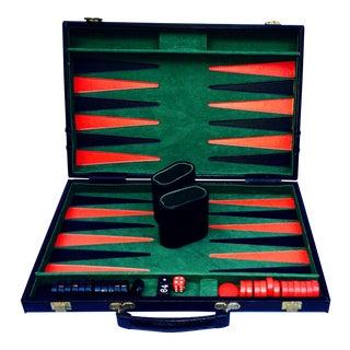 Vintage Backgammon Mid-Century Black Leather Game Case & Pieces