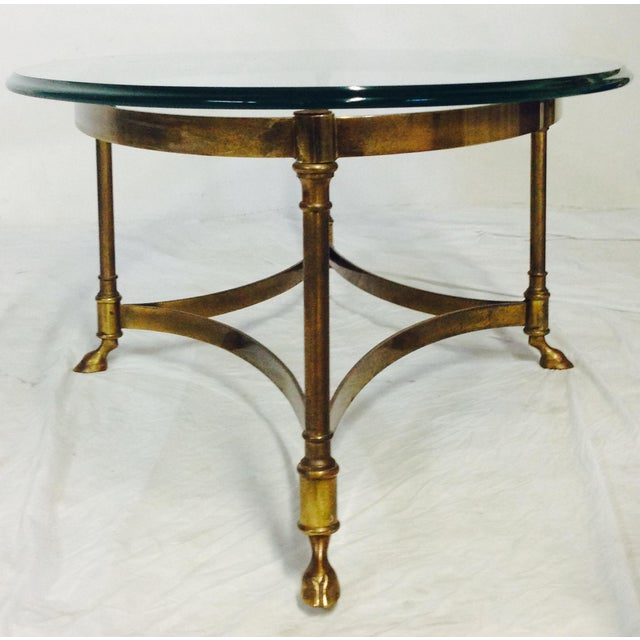 Image Of Vintage Labarge Brass Glass Hoof Coffee Table