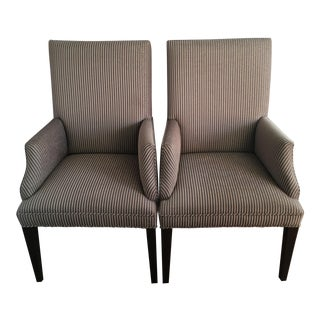 Transitional Striped Upholstered Dining Chairs - A Pair