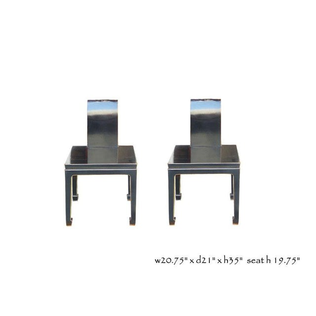 Black Asian Chinese Lacquer Chairs - Pair - Image 5 of 5