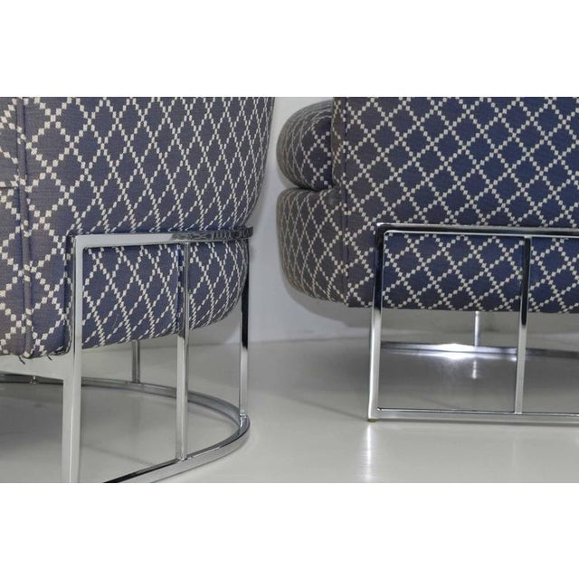 Unique Pair of Milo Baughman/Thayer Coggin Lounge Chairs with Chrome Frame - Image 3 of 7