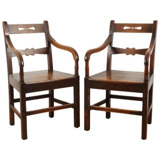Pair English Oak Arm Chairs