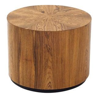 Short Drum End Table for Harvey Probber for Modern - Wild Veneer Pattern - Cylindrical