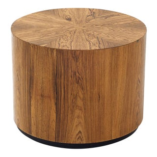 Short Drum End Table for Harvey Probber for Modern - Wild Veneer Pattern - Cylindrical