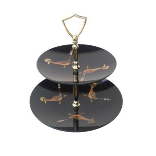 Couroc Vintage Two-Tiered Roadrunner Snack Tray