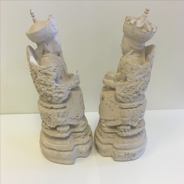 Image of Vintage Plaster Chinoiserie Figures - Pair