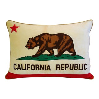 Large Jumbo California Republic Bear Feather/Down Flag Pillow