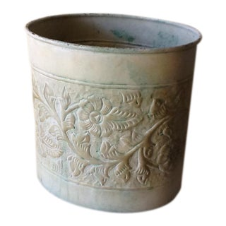 Pale Green Floral Metal Vessel