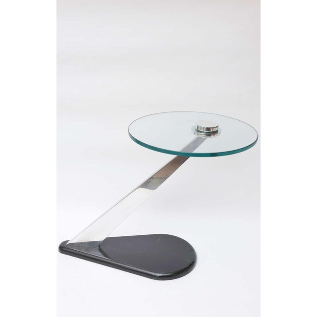 Angled Sculptural Nickel Silver, Glass and Resin Side Table - Image 2 of 10