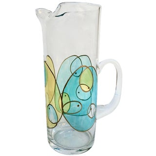 Mid-Century Abstract Glass Cocktail Pitcher