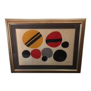 Chevrons Noir sur Rouge et Jaune - Pencil Signed Alexander Calder Lithograph