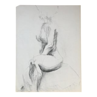 Seated Nude Charcoal Drawing