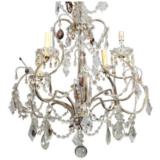 Antique French 4-Light Crystal Beaded Chandelier