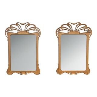 Art Nouveau Carved Wall Mirrors - A Pair