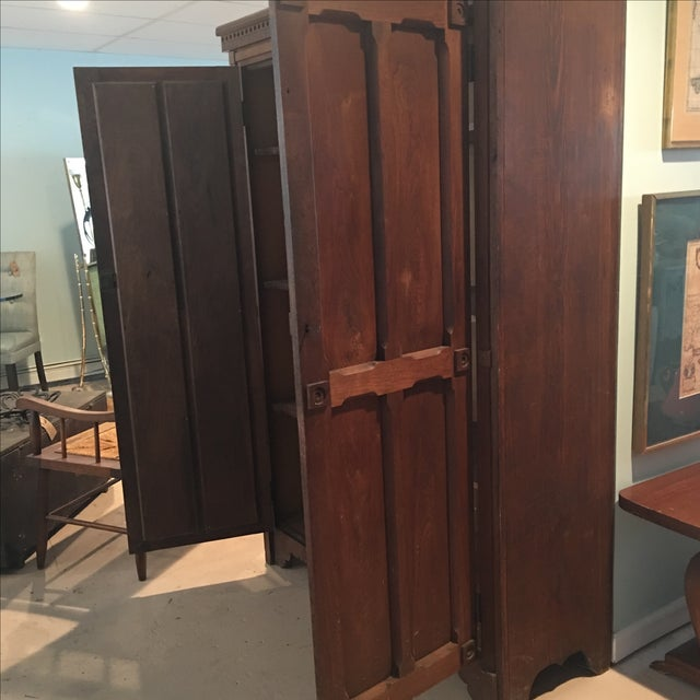 Antique 1800s Walnut Wardrobe Armoire - Image 7 of 7