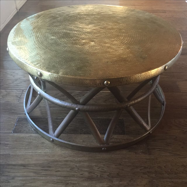 Mid-Century Hammered Brass Coffee Table - Image 2 of 8