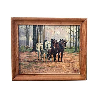 1943 French Horses Oil Painting