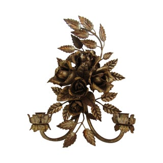 Antique Florentine Gilted Metal Candle Sconce