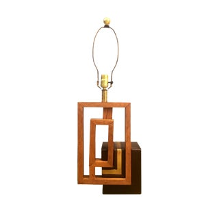 Vintage Ceramic, Wood & Metal Table Lamp