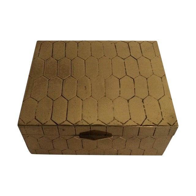 Honeycomb Pattern Brass Box - Image 1 of 6