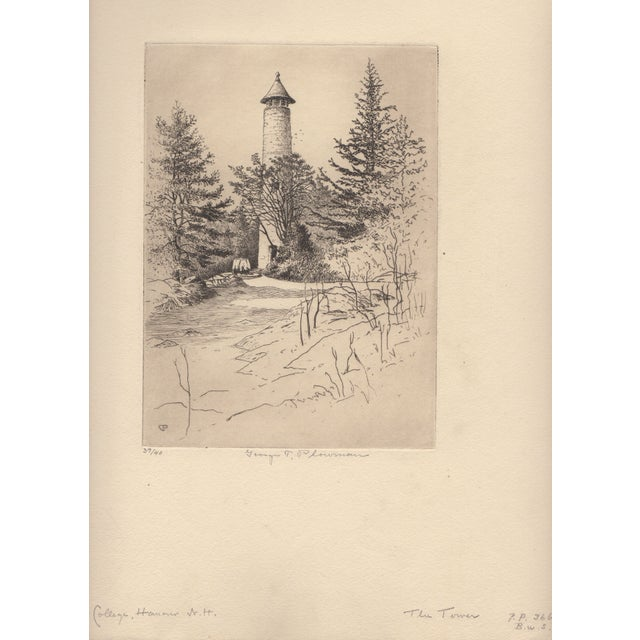 George T. Plowman The Tower Dartmouth Etching - Image 3 of 3