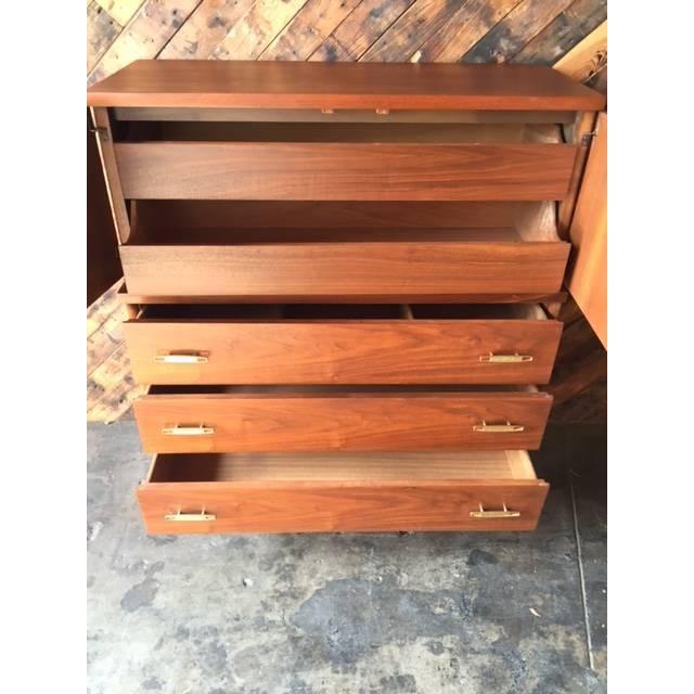Image of Mid-Century Refinished Walnut Highboy Dresser