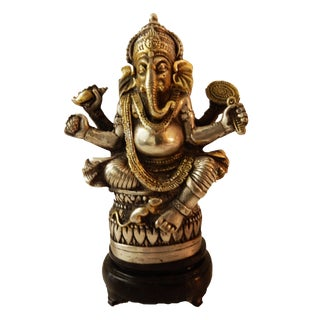 Bronze Lord Ganesh Sculpture on Wood Stand