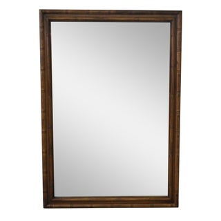 Vintage Walnut Faux Bamboo Frame Mirror