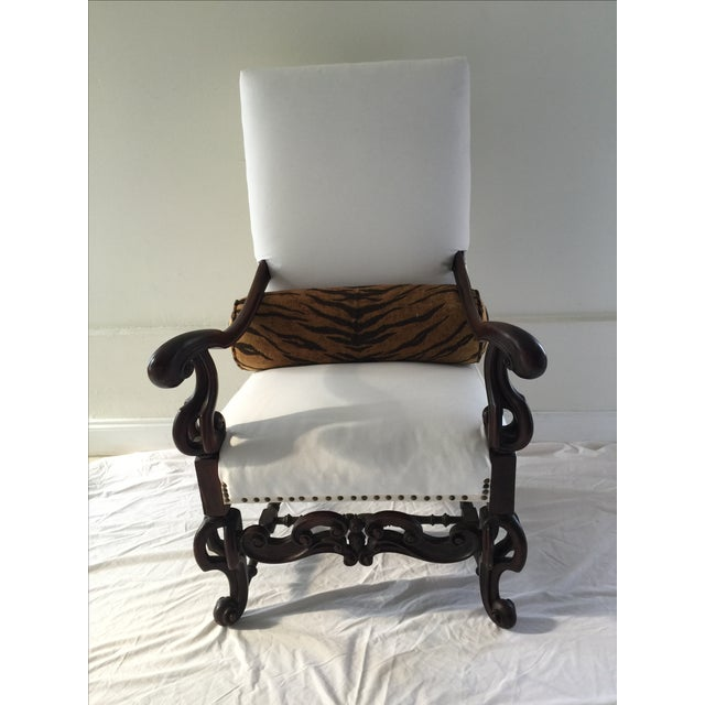 Image of Antique 19th Century Carved Walnut Throne Chair