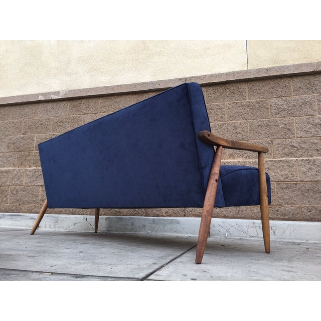 Mid Century Atomic Velvet Sofa - Image 4 of 4