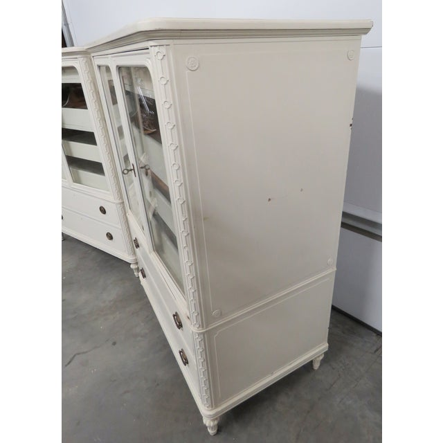 Image of Cream Painted Carved Cabinets - Pair