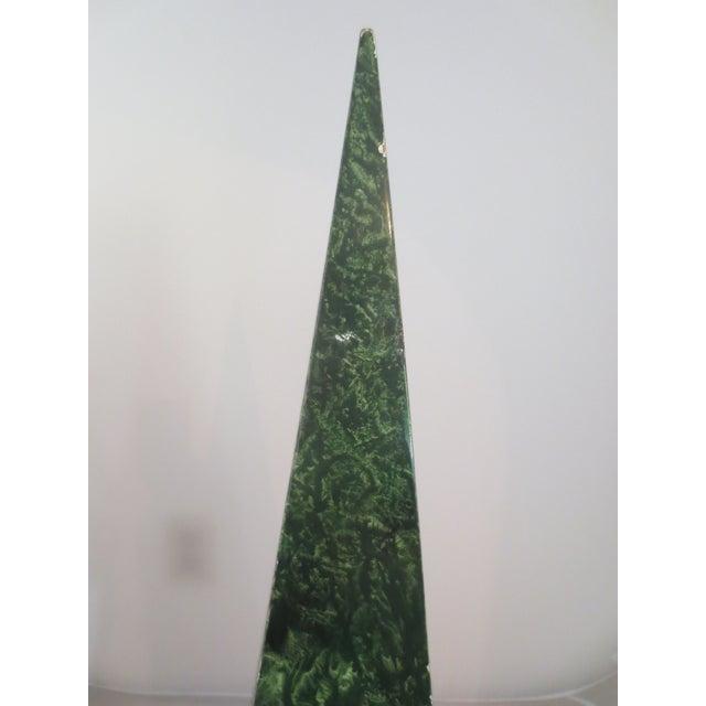 Image of Vintage Faux Malachite and Brass Obelisk